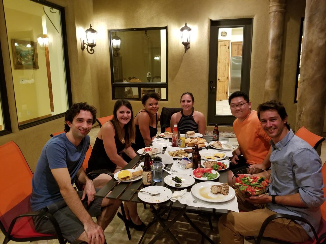 lab group around table